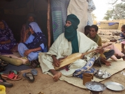 Issa, the griot form Tartit Ensemble at Sagnioniogo refugee camp, Burkina Faso
