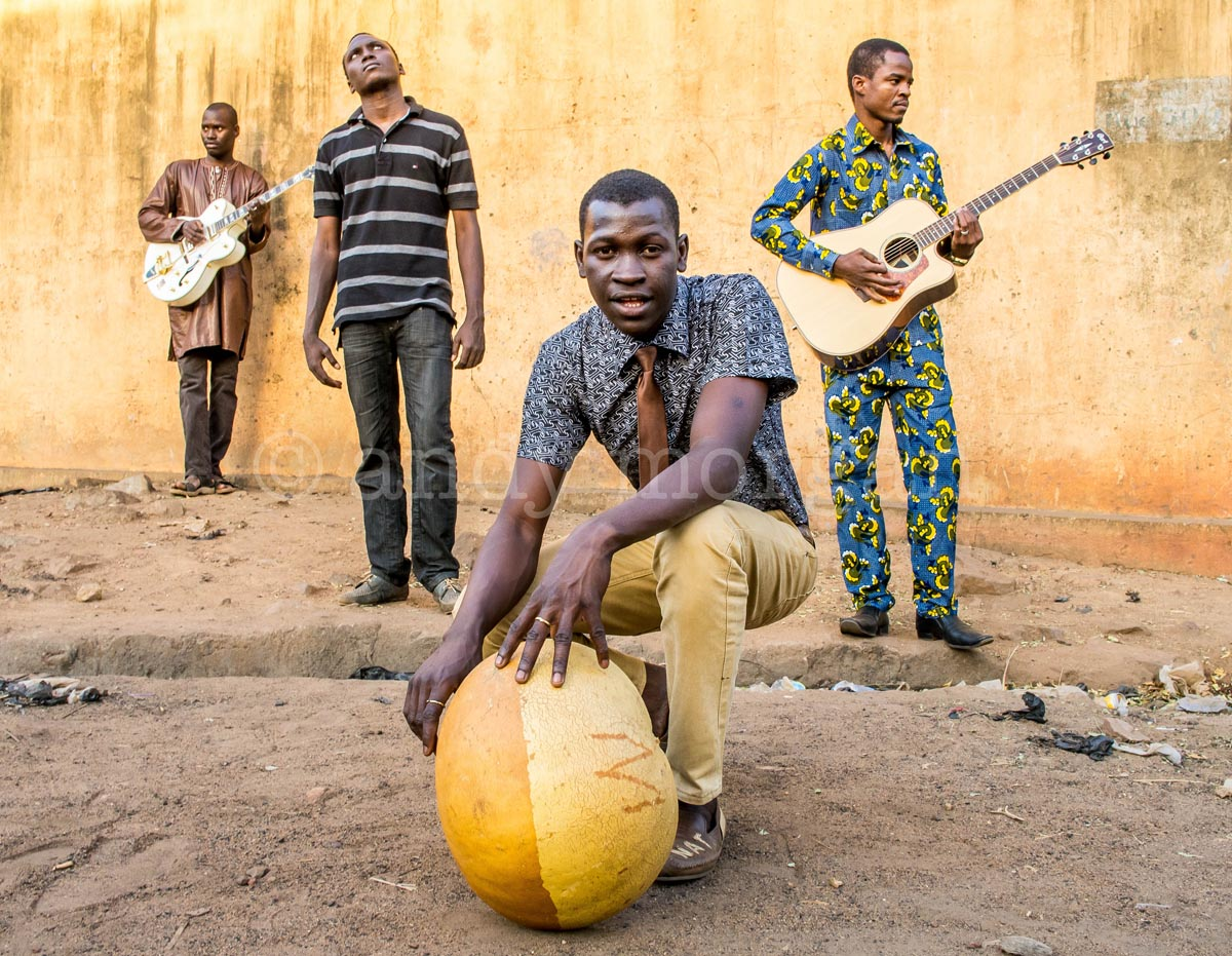 Songhoy Blues, Bamako, Feb 2012. (L-R) Garba, Ali, Nathaniel, Omar.  (c) Andy Morgan.