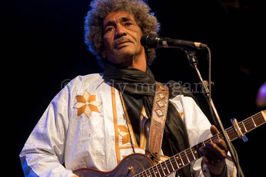 Ibrahim 'Abaraybone' Alhabib from Tinariwen onstage at Taragalte Festival
